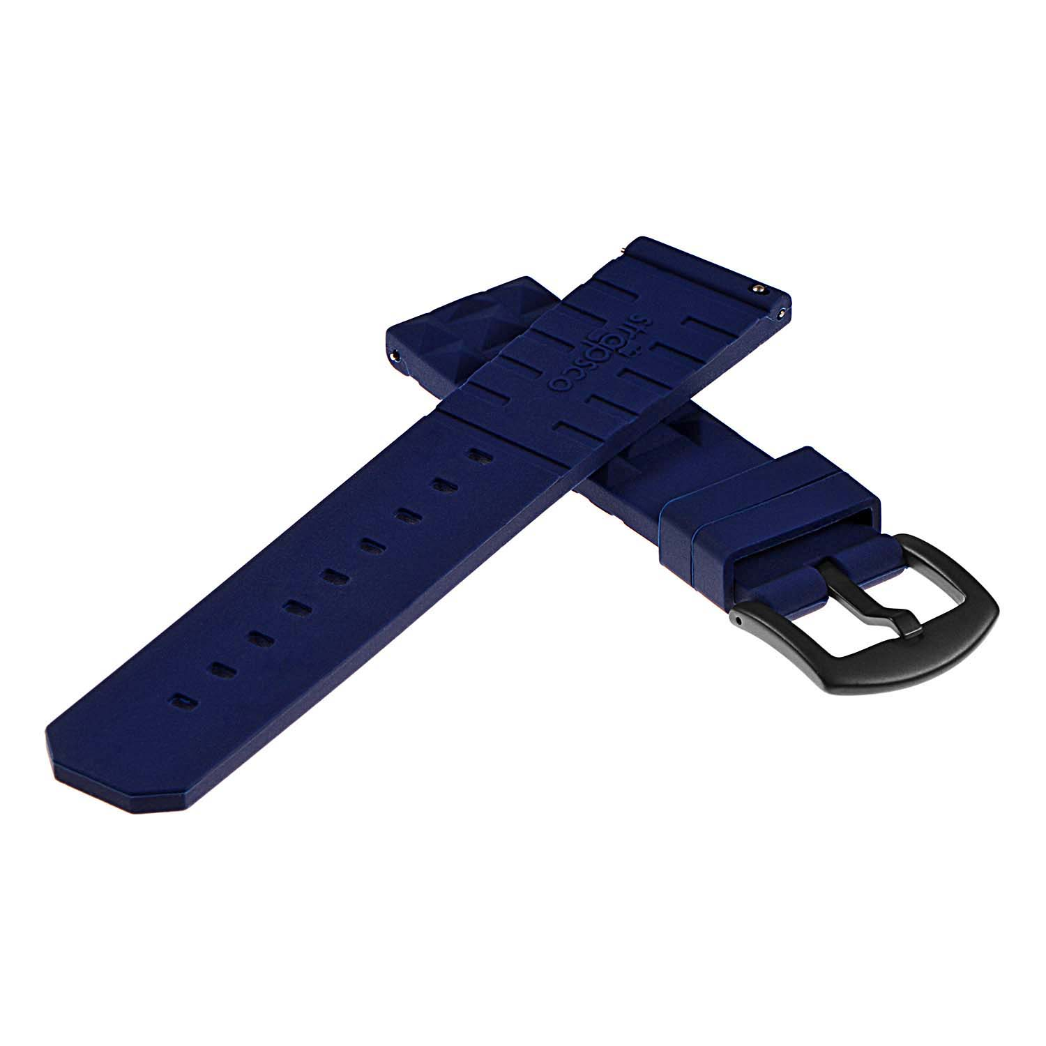 48ae6a5fb74 Pu16.5.mb Back Silicone Rubber Strap With Matte Black Buckle In Dark Blue